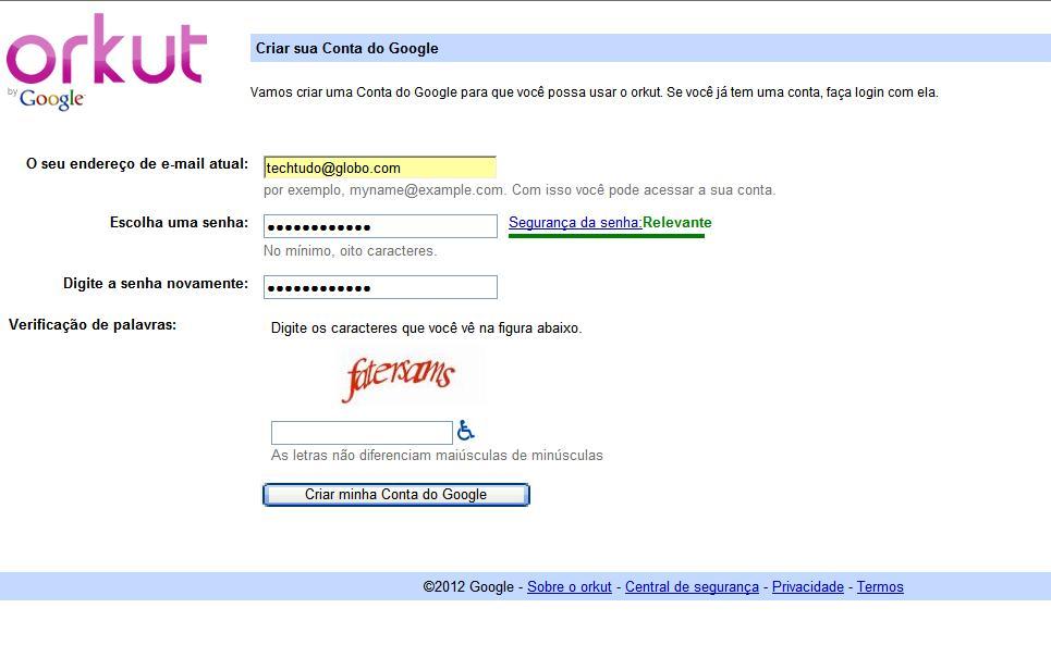 Página para criar uma conta no Google (Foto: Reprodução/Monique Mansur)