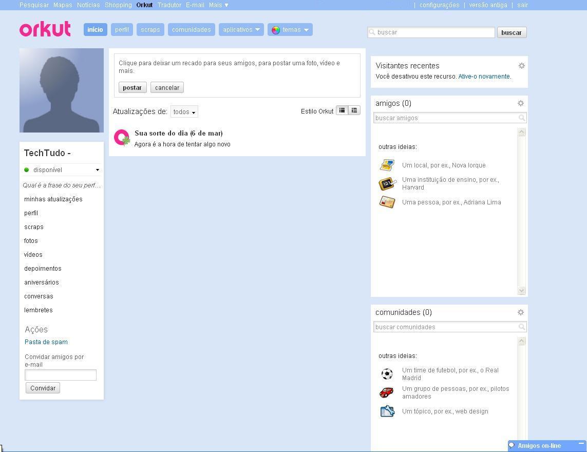 Página inicial do Orkut (Foto: Reprodução/Monique Mansur)