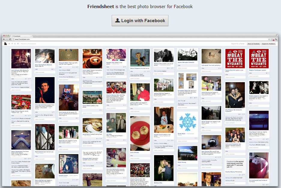 FriendSheet, com o mesmo estilo do Pinterest, mas somente com fotos do Facebook (Foto: Reprodução)