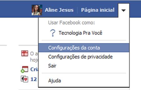 Configurações de conta do Facebook (Foto: Reprodução)