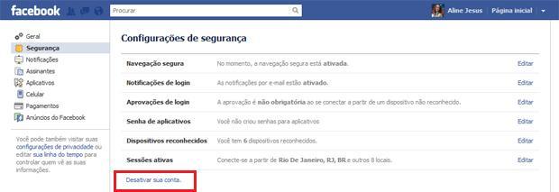 Desativando conta no Facebook (Foto: Reprodução)