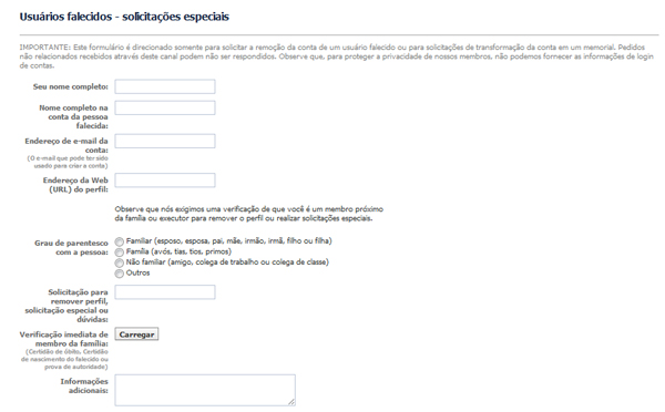 Formulário para solicitar a exclusão do perfil de uma pessoa falecida (Foto: Reprodução)