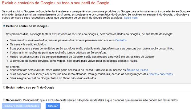 Excluindo o seu perfil no Google+ (Foto: Reprodução)