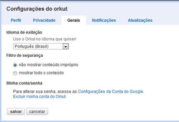 Acessando a página de configurações do Orkut (Foto: Reprodução)