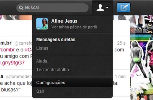 Página de configurações do Twitter (Foto: Aline Jesus/Reprodução)