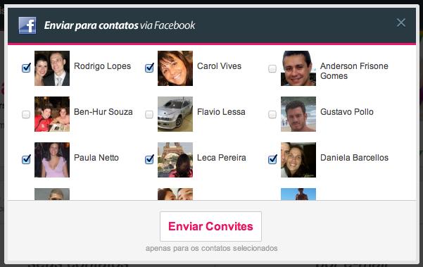 Listus convida seus amigos pelo Facebook (Foto: Divulgação)