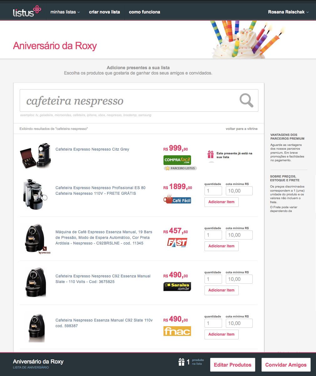 Lista de compras criada pelo serviço online (Crédito: Divulgação)