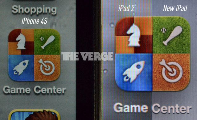 Comparativo feito pelo site The Verge com as telas do iPhone 4S, do iPad 2 e do Novo iPad (Foto: Reprodução/The Verge)