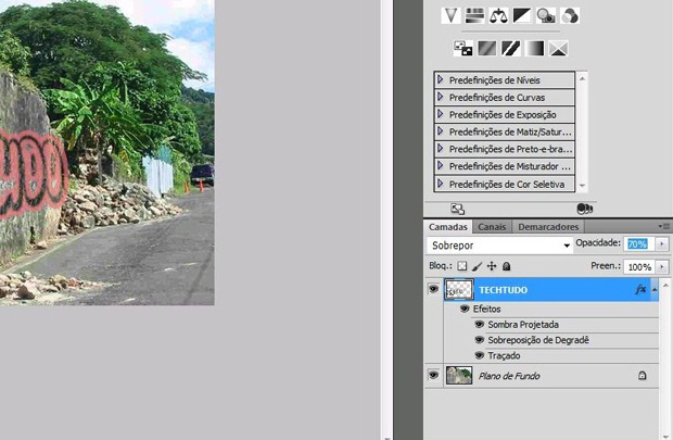 Efeito grafite no Photoshop: diminua a opacidade (Foto: Reprodução/Isabela Catão)