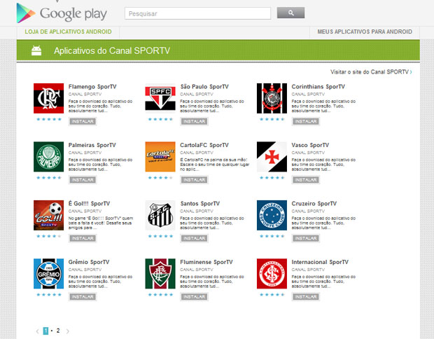 Página do Google Play (Android) com os apps do SporTV sobre clubes de futebol (Foto: Reprodução)