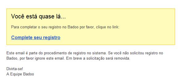Confirmando cadastro no Badoo pelo email cadastrado (Foto: Aline Jesus/ Reprodução)