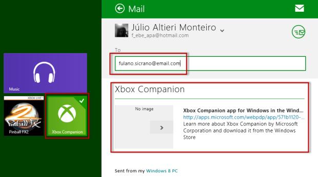 Após clicar em Mail, preencha o endereço de e-mail do destinatário e clique no ícone de um círculo com uma carta no centro para enviar (Foto: Reprodução/Júlio Monteiro)