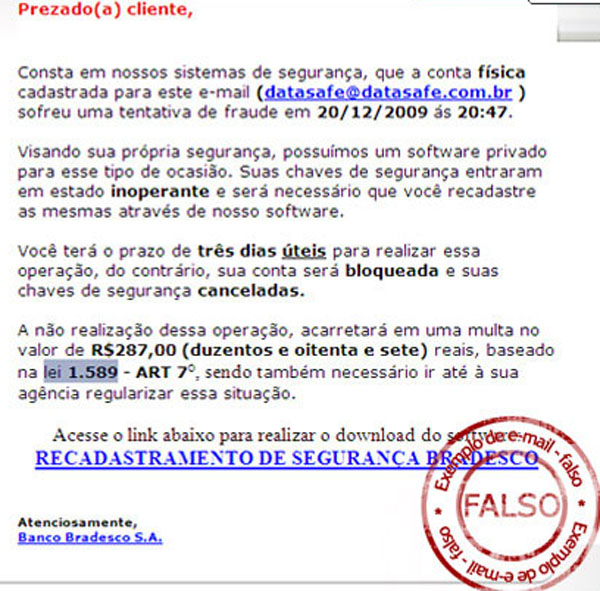email falso bradesco