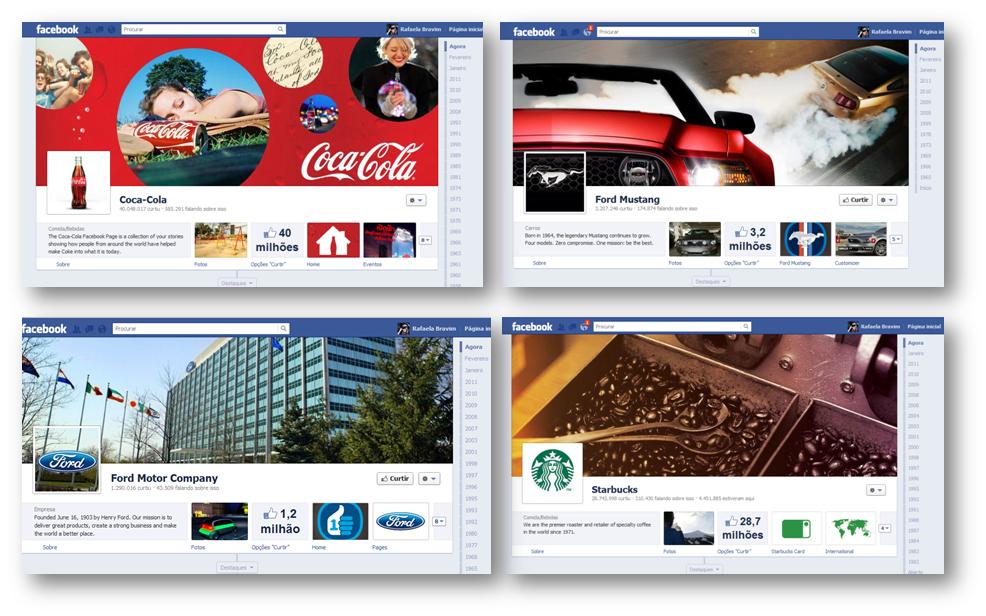 Exemplos de timelines de marcas americanas (Foto: Reprodução)