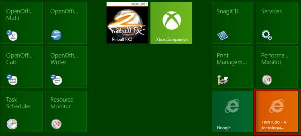 O atalho do site favorito foi para a tela Start da interface Metro junto com as telas dos aplicativos (Foto: Reprodução/Júlio Monteiro)