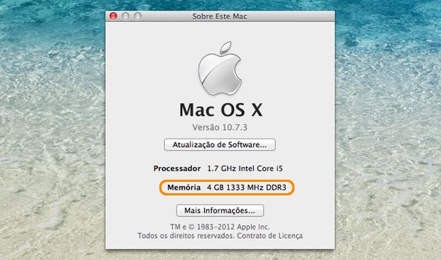 Janela de informações básicas do Mac.