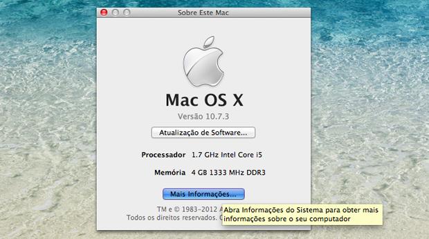Botão de mais informações do Mac ativado.