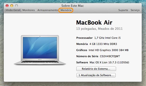 Janela de mais informações sobre o Mac.