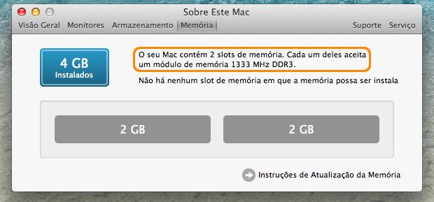 Janela de informações sobre os slots de memória do Mac.