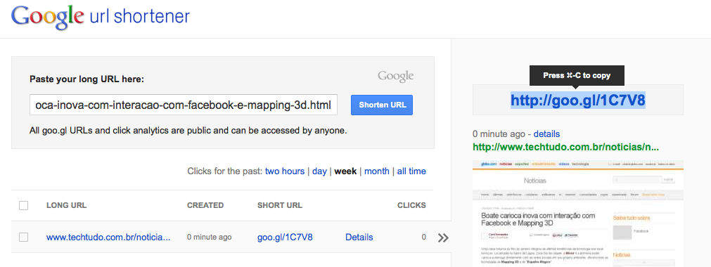 Google reformula a página do seu encurtador goo.gl (Foto: Reprodução) (Foto: Reprodução)