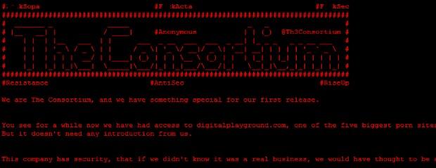 O grupo The Consortium deixou mensagem na home de site pornográfico (Foto: Reprodução)