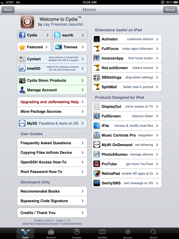 Jailbreak funcionando no novo iPad (Foto: Reprodução/Twitter@MuscleNerd)