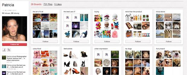 Antiga página de perfil do Pinterest (Foto: Reprodução)