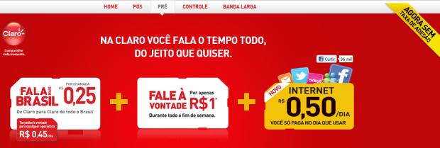 Oferta de internet pré da Claro (Foto: Reprodução)