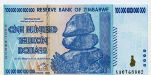 Nota de 100 trilhões (Foto: Divulgação)