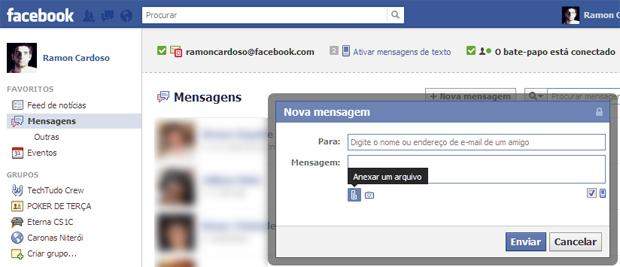 Adicionando uma foto como anexo na mensagem inbox do Facebook