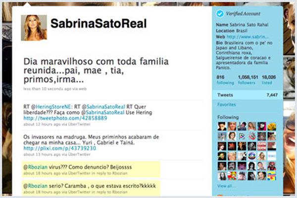 Apresentadora Sabrina Sato ficou surpresa em seu Twitter ao saber de supostas fotos suas que eram ameaças de vírus (Foto: Reprodução)