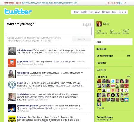 Layout do Twitter em 2008 (Foto: Reprodução)