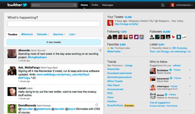 Layout do Twitter em 2010 (Foto: Reprodução)