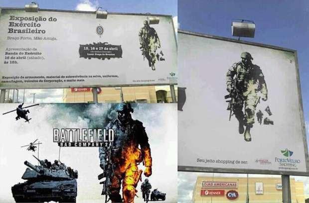 Outdoor em Rondônia utiliza imagem de Battlefield: Bad Company 2 (Foto: Divulgação)