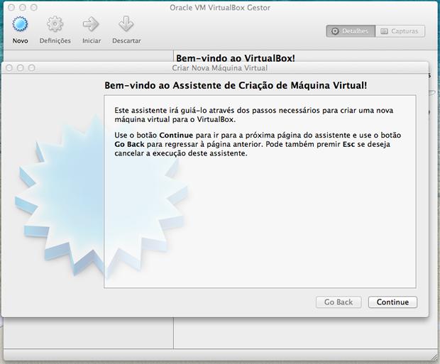 Termos de uso do VirtualBox.