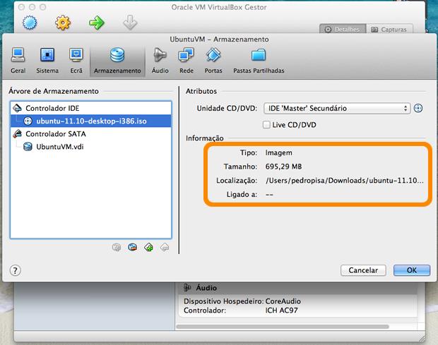 Informações do disco de instalação do Ubuntu carregado.