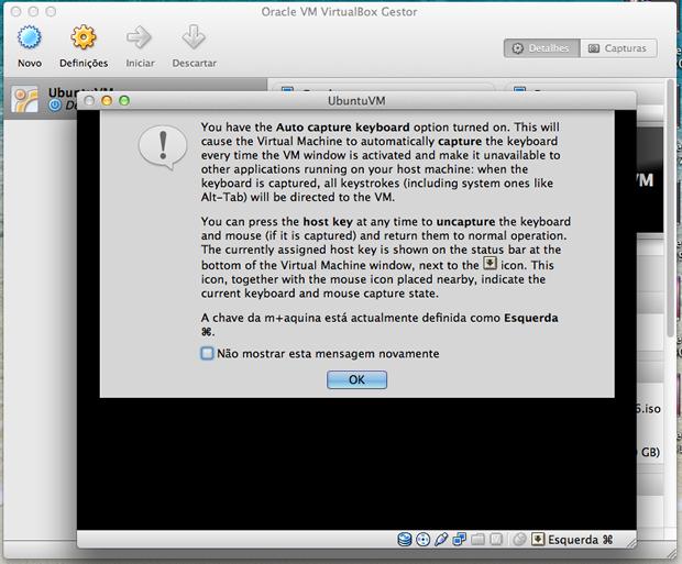 Aviso do VirtualBox para o controle do teclado.