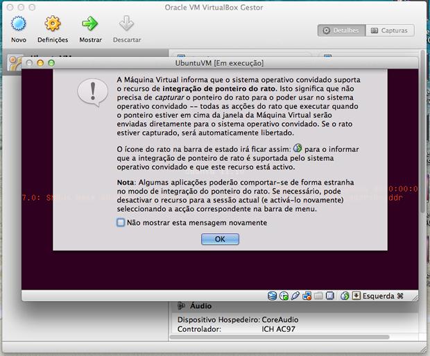 Aviso do VirtualBox sobre o controle de ponteiro do mouse.