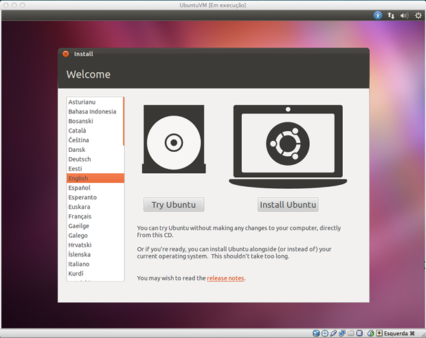 Janela inicial de instalação do Ubuntu.