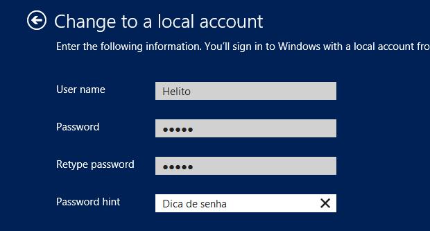 Configurando uma conta local no Windows 8 (Foto: (Foto: Reprodução/ Helito Bijora))