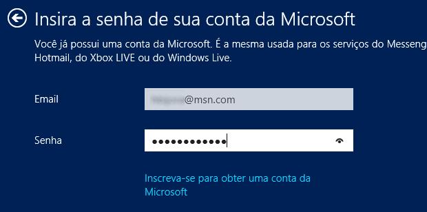 Configurando uma conta Windows Live no Windows 8 (Foto: (Foto: Reprodução/ Helito Bijora))