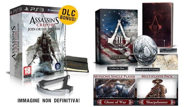 Loja italiana revela edição de colecionador de Assassin's Creed 3 (direita) e edição Join or Die (esquerda) (Foto: Softpedia