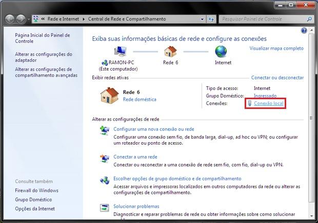 Central de Rede e Compartilhamento do Windows (Foto: Reprodução/Ramon Cardoso)