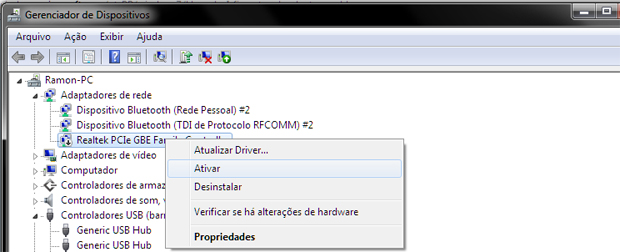 driver de rede windows 7