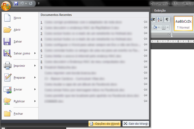 Menu do Word com a lista de documentos recentes