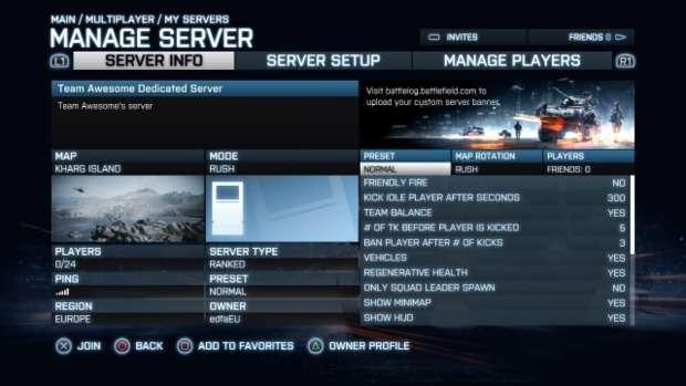Gerenciamento de servidores em Battlefield 3 (Foto: Eurogamer)