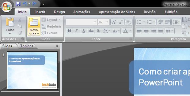 Adicionando um novo slide à apresentação