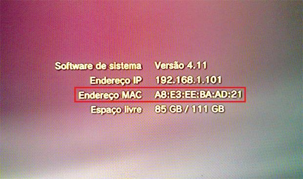 Informações do sistema PS3, com Endereço MAC listado