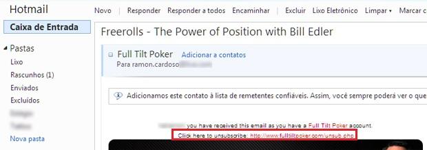 Link de cancelamento logo no início do e-mail