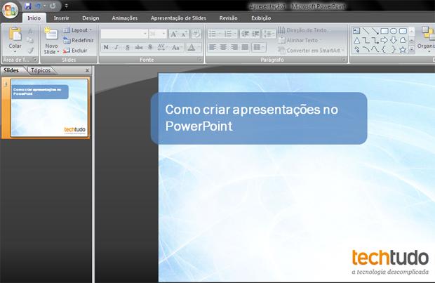 PowerPoint com a capa da apresentação criada